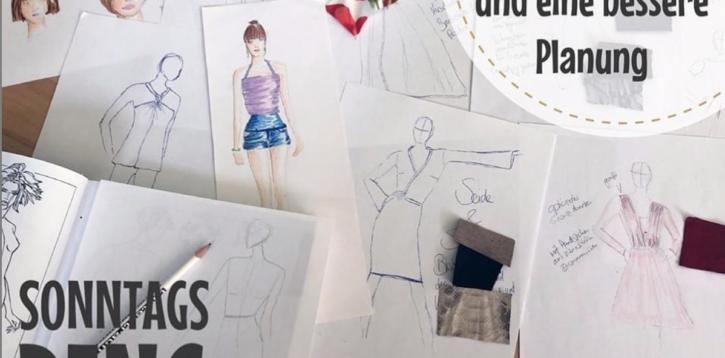 Sonntagsding: Design Collage erstellen (Skizzen vom fertigen Nähprojekt)